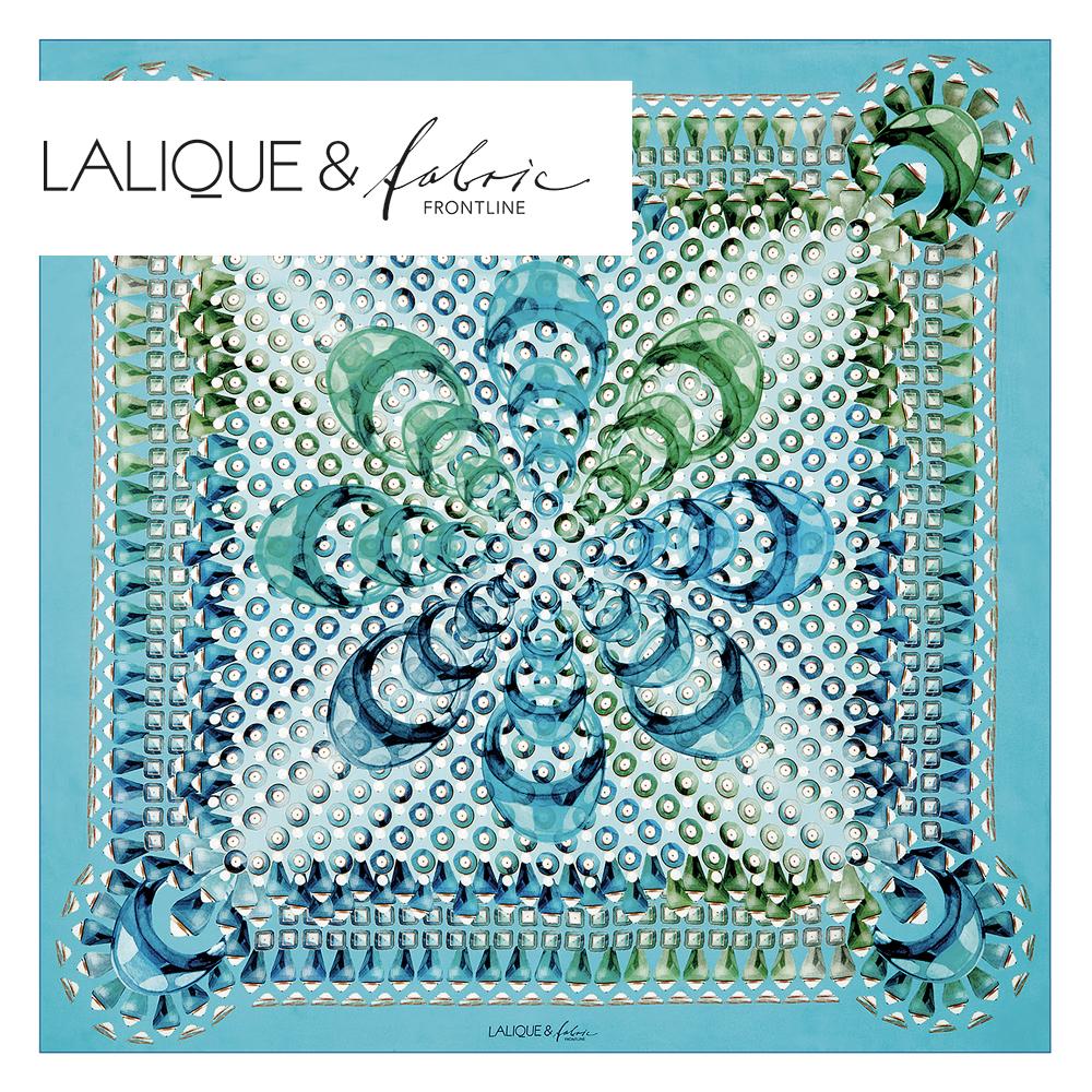 Gourmande scarf | Silk twill, 95x95 cm, blue color | Lalique