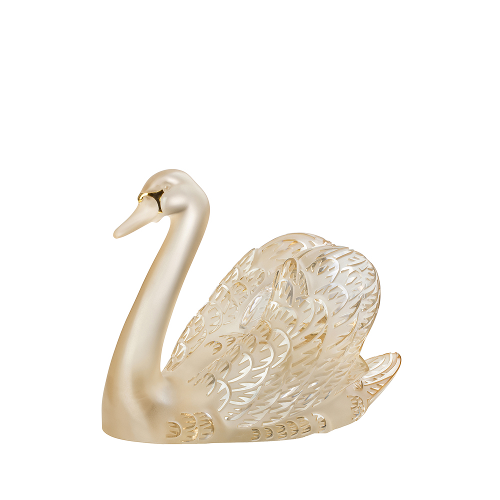 Swan head up sculpture | Gold luster crystal, gold enameled | Sculpture Lalique