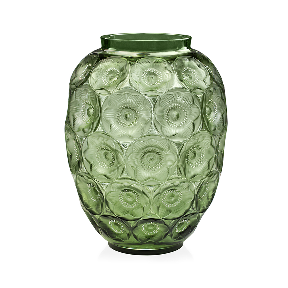 Anemones grand vase | Limited edition (188 pieces), green crystal and white enamelled | Lalique crystal vase