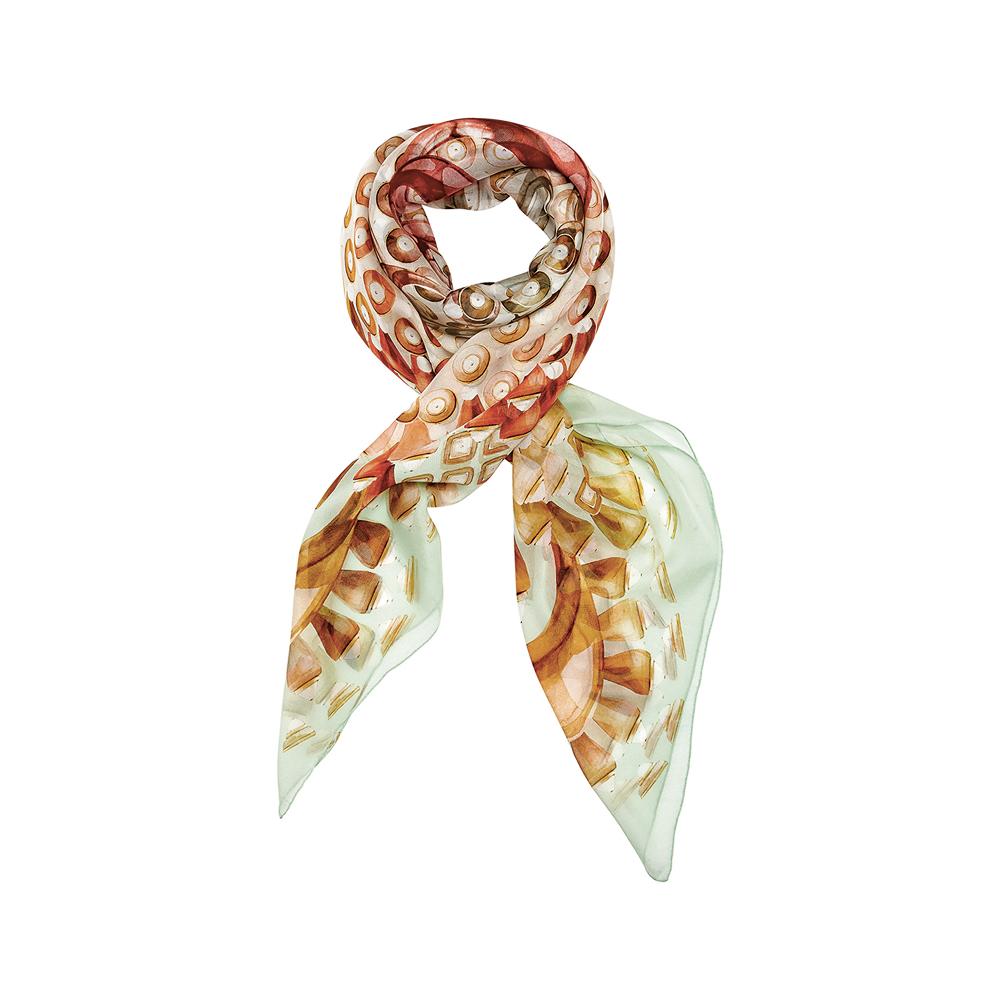 Gourmande scarf | Silk mousseline, 140x140 cm, green color | Lalique