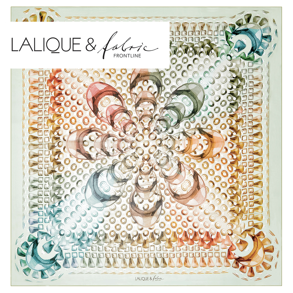 Gourmande scarf | Silk mousseline, 140x140 cm, green color | Lalique
