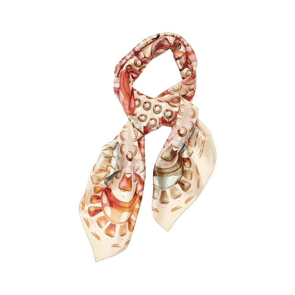 Gourmande scarf   Silk twill, 95x95 cm, beige color   Lalique