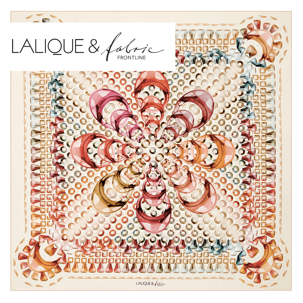 Gourmande scarf | Silk twill, 95x95 cm, beige color | Lalique