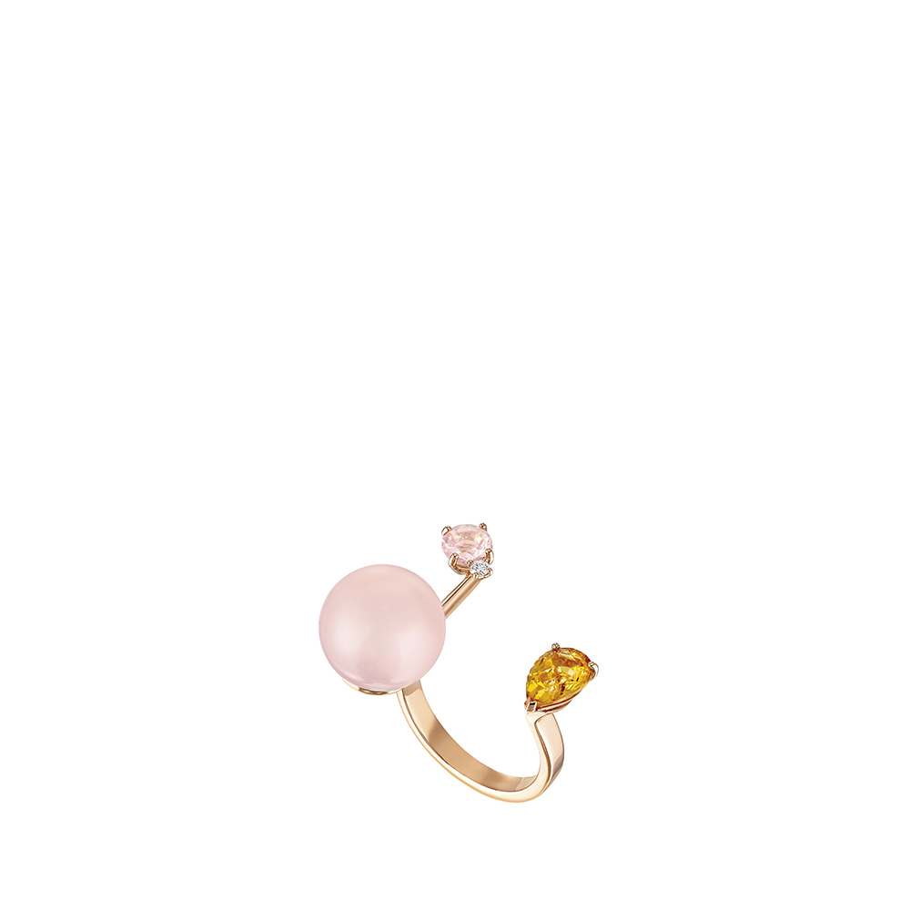 L'Oiseau Tonnerre double ring | Pink Quartz, Citrine, Diamond, Pink Agate, Pink Gold | Lalique fine jewellery
