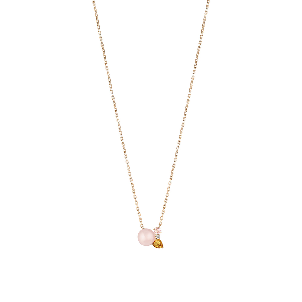 L'Oiseau Tonnerre necklace | Pink Quartz, Citrine, Diamond, Pink Agate, Pink Gold | Lalique fine jewellery