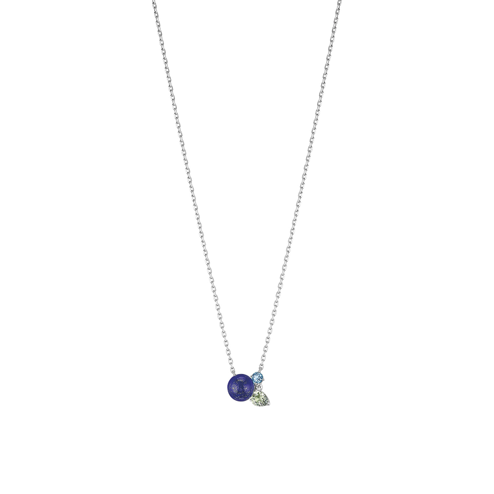 L'Oiseau Tonnerre necklace | Blue London topaz, green quartz, diamond, lapis lazuli, white gold | Lalique fine jewellery