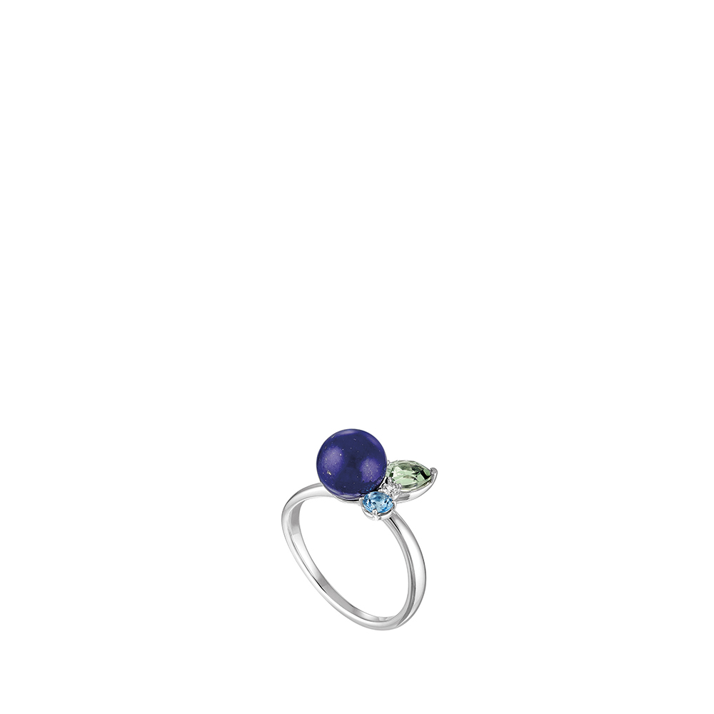 L'Oiseau Tonnerre ring | Blue London topaz, green quartz, diamond, lapis lazuli, white gold | Lalique fine jewellery