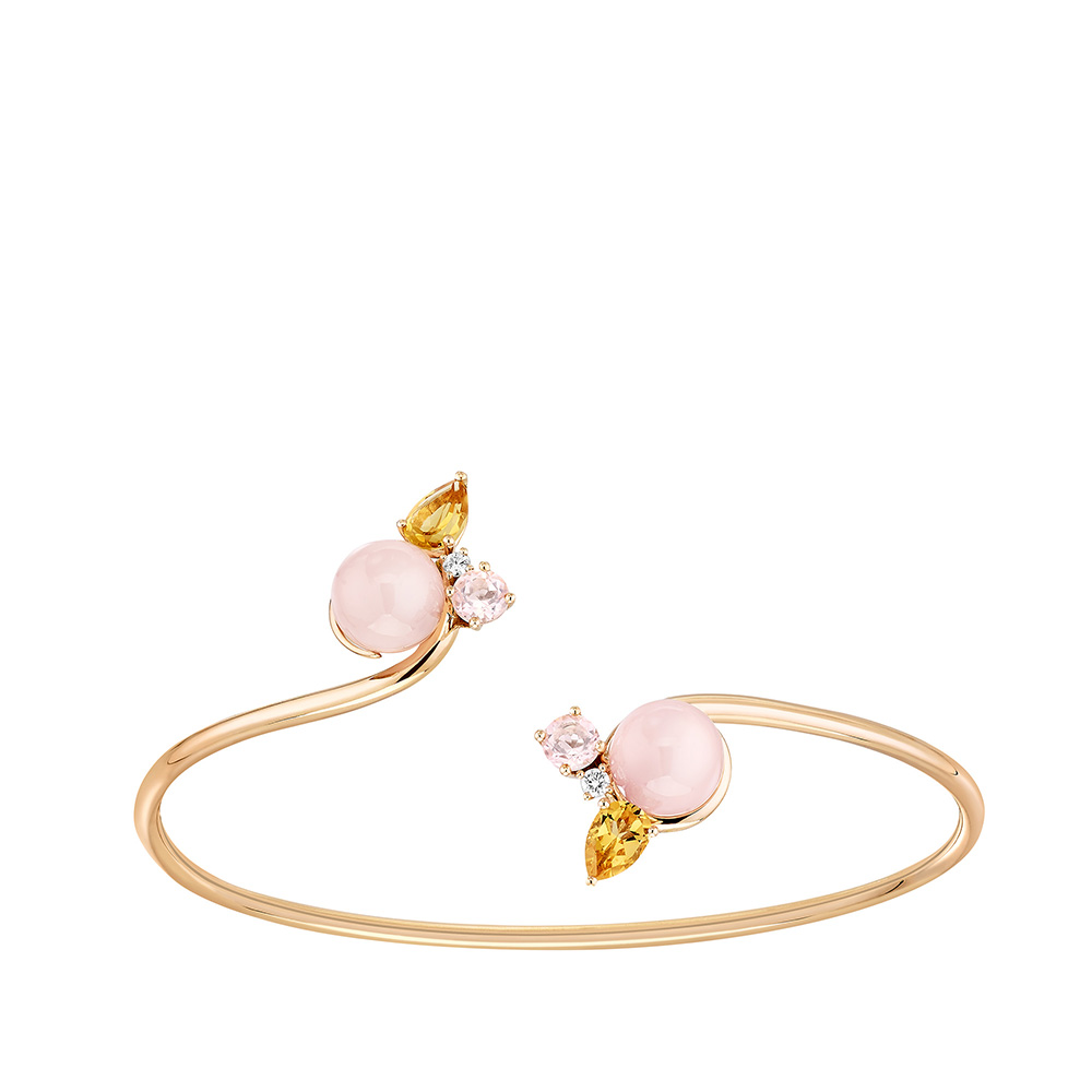 L'Oiseau Tonnerre bracelet | Pink Quartz, Citrine, Diamond, Pink Agate, Pink Gold | Lalique fine jewellery