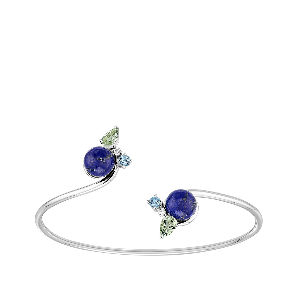 L'Oiseau Tonnerre bracelet | Blue London topaz, green quartz, diamond, lapis lazuli, white gold | Lalique fine jewellery