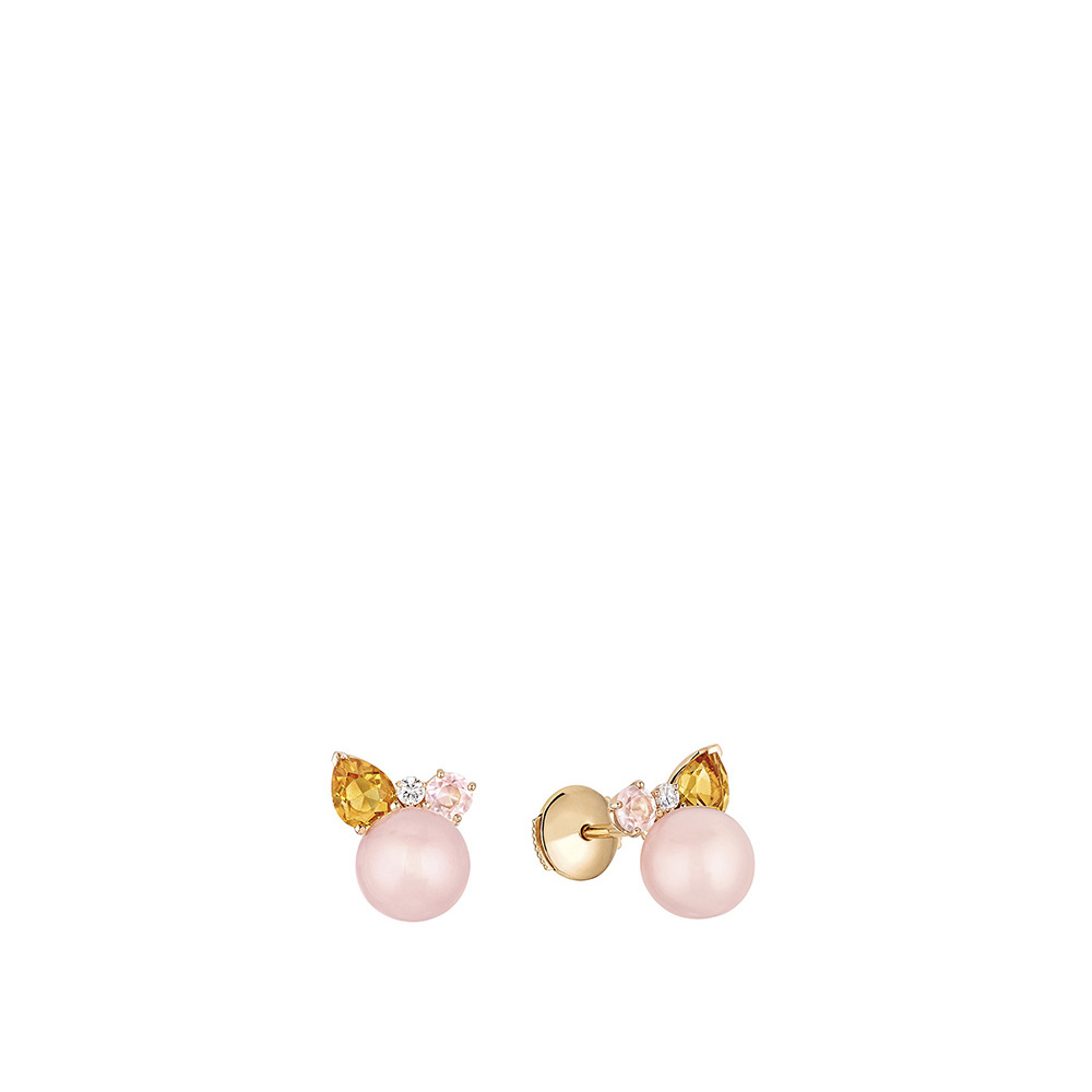 L'Oiseau Tonnerre Earrings | Pink Quartz, Citrine, Diamond, Pink Agate, Pink Gold | Lalique fine jewellery