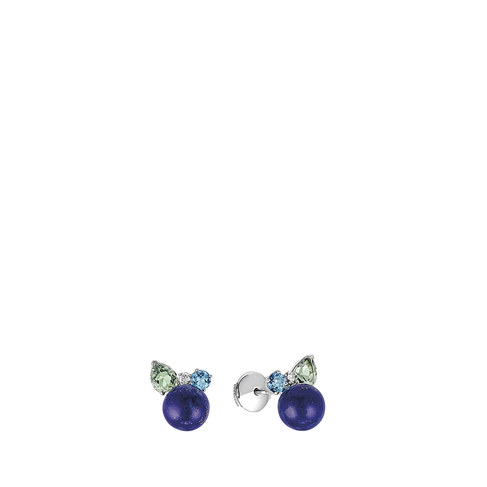 L'Oiseau Tonnerre Earrings | Blue London topaz, green quartz, diamond, lapis lazuli, white gold | Lalique fine jewellery