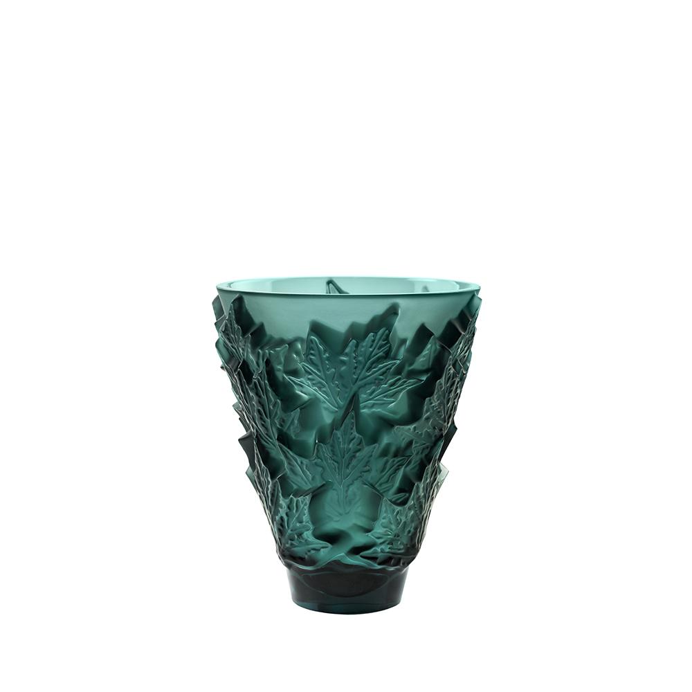 Champs-Élysées small vase | Deep green crystal | Vase Lalique