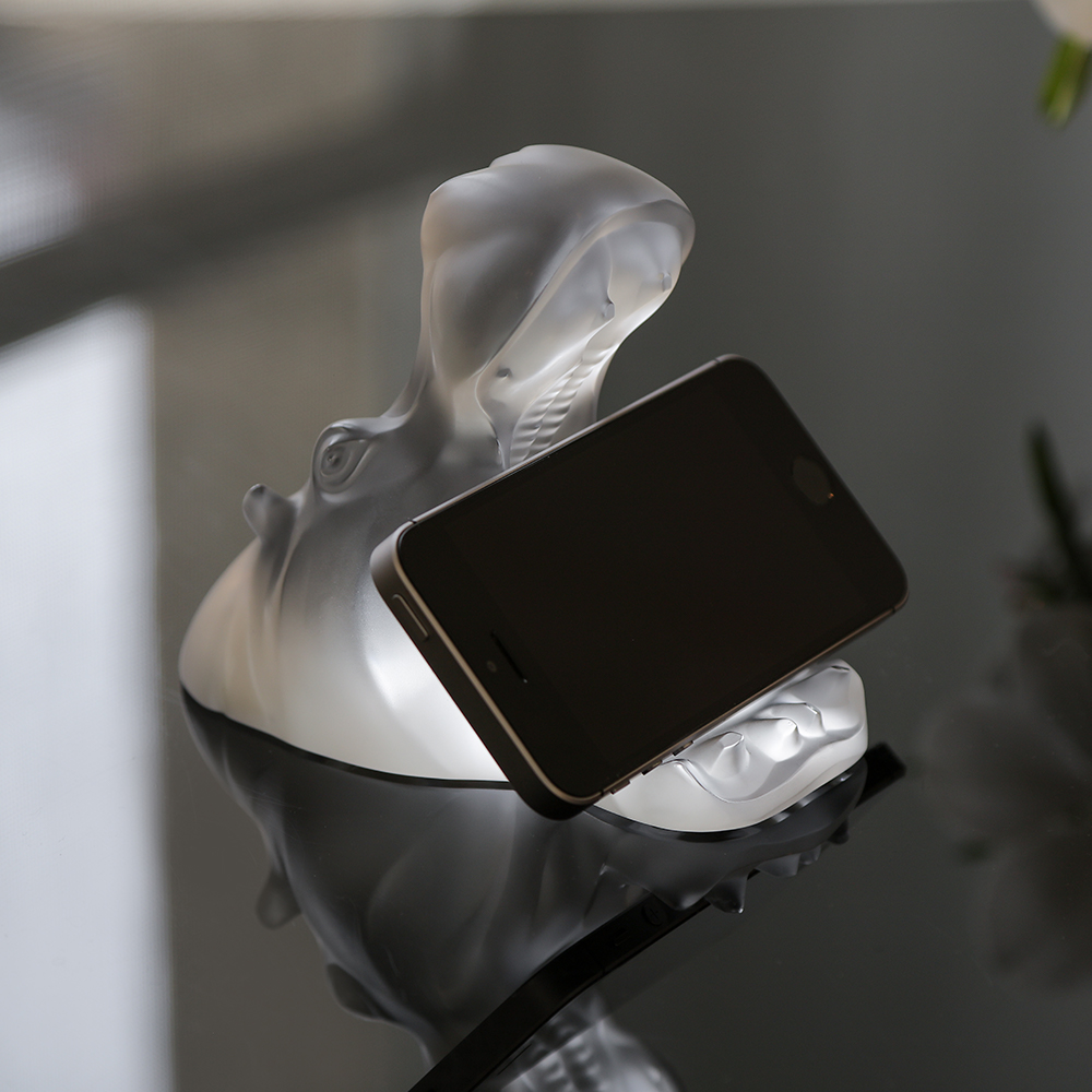 Hippopotamus smartphone holder sculpture | Clear crystal | Sculpture Lalique