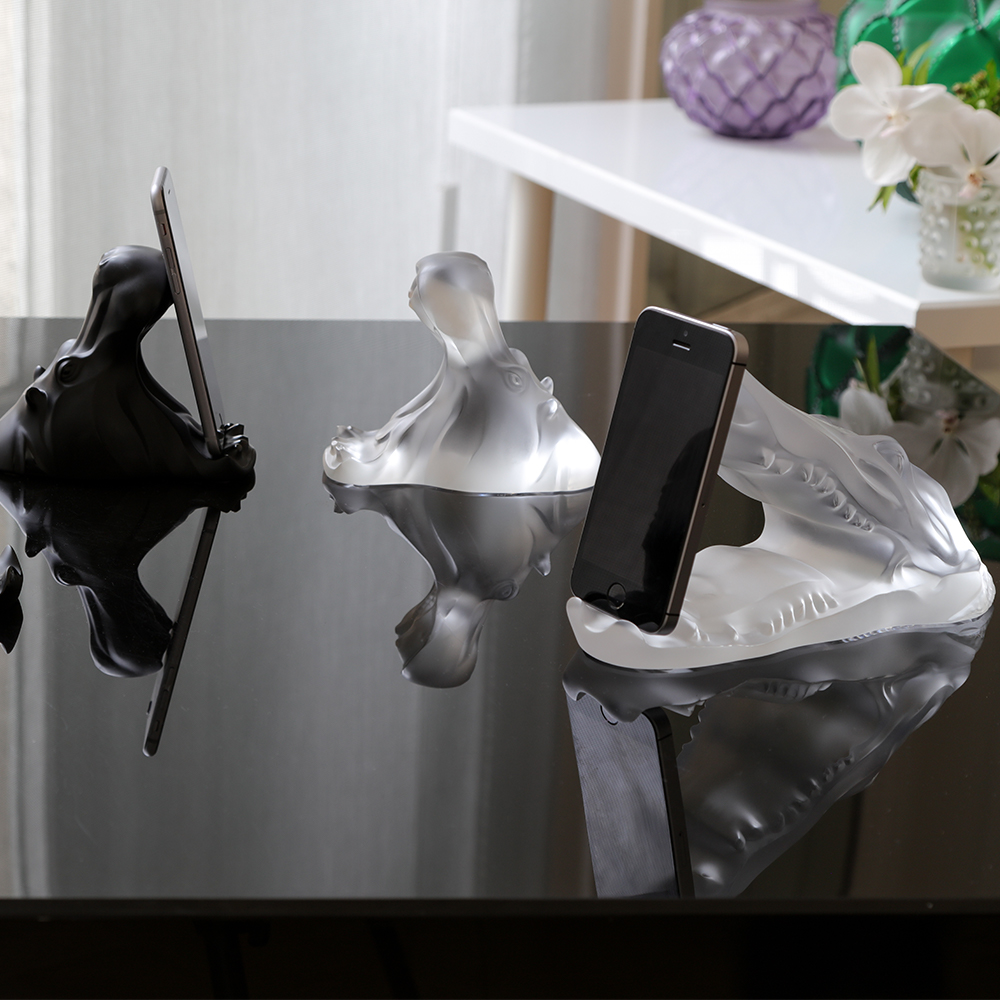 Crocodile smartphone or tablet holder sculpture | Clear crystal | Sculpture Lalique