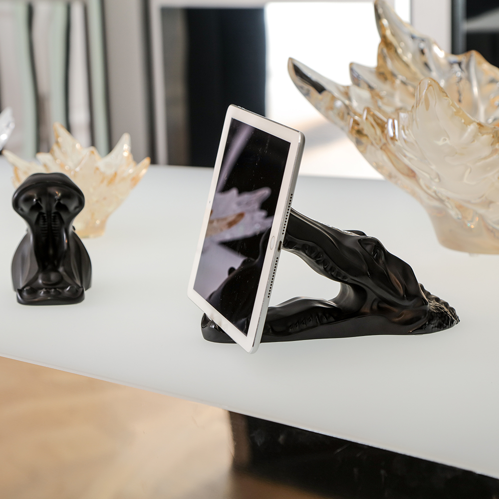 Crocodile smartphone or tablet holder sculpture | Black crystal | Sculpture Lalique