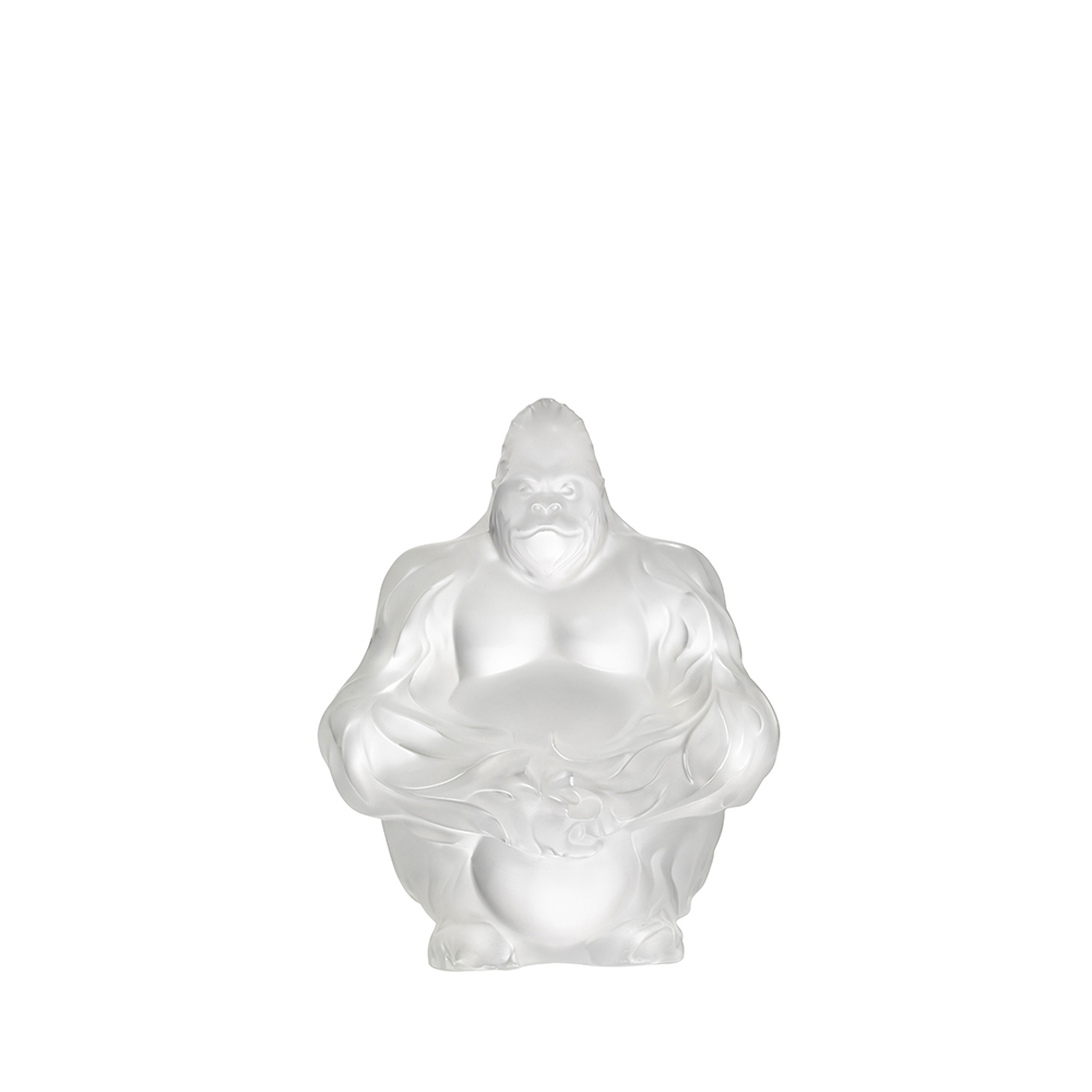 Gorilla sculpture | Clear crystal | Sculpture Lalique