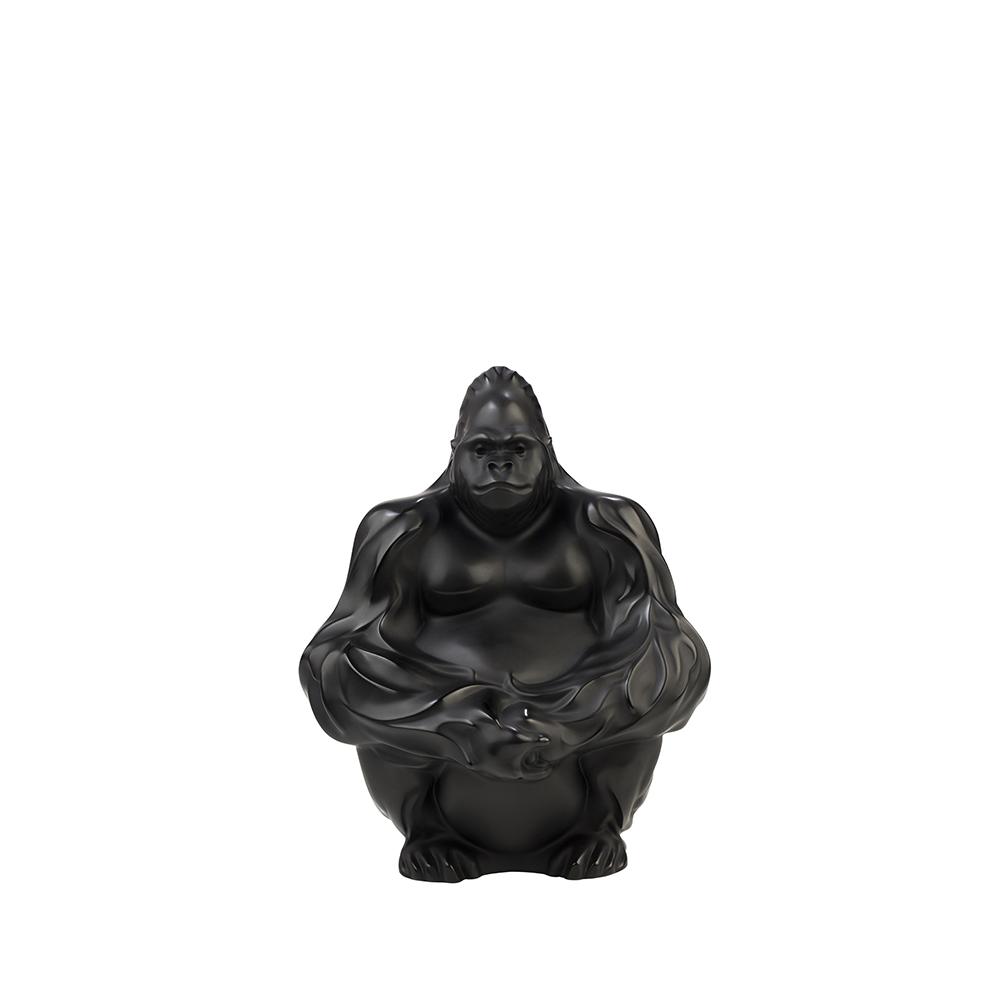 Gorilla sculpture | Black crystal | Sculpture Lalique