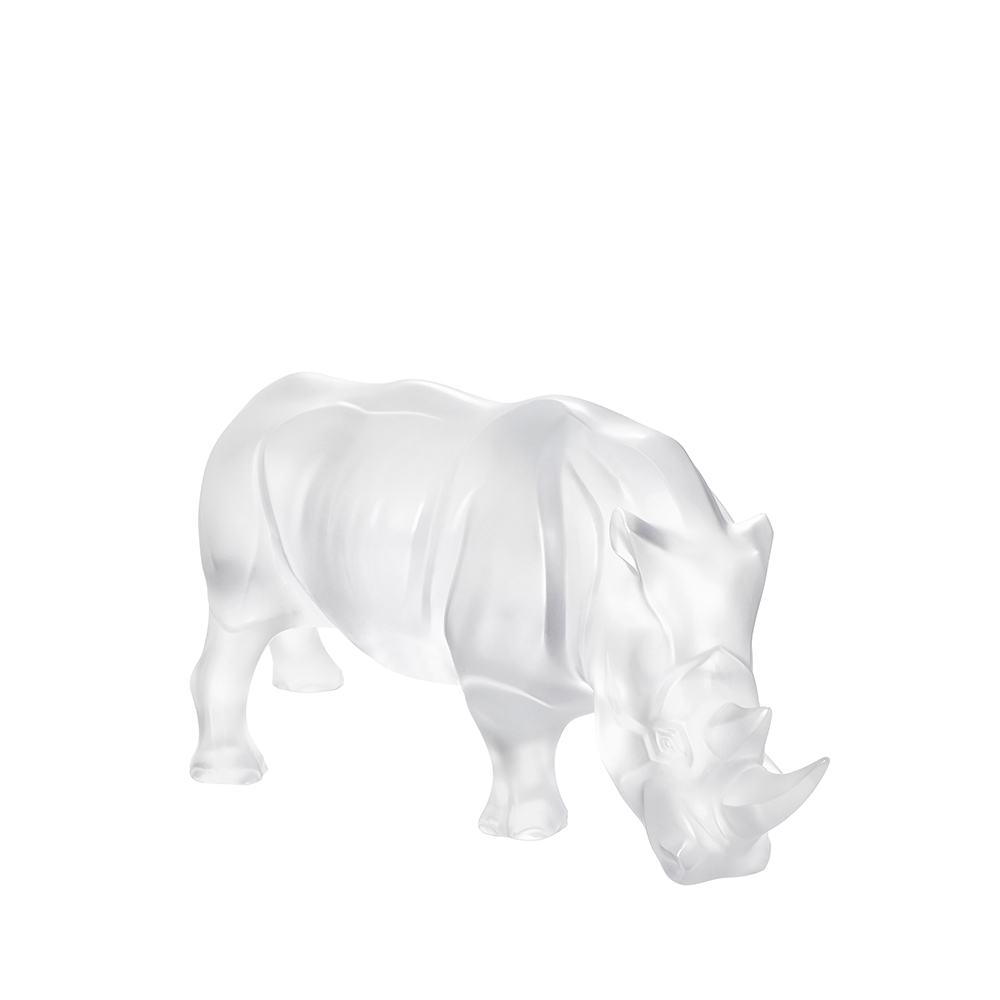 Rhinoceros sculpture | Clear crystal | Sculpture Lalique