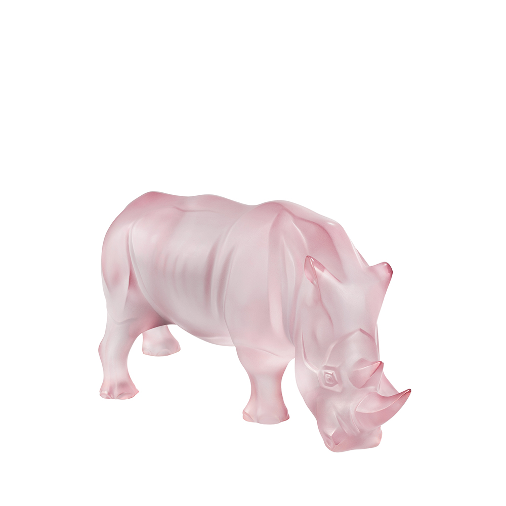 Rhinoceros sculpture | Limited edition (17 pieces), pink crystal | Sculpture Lalique