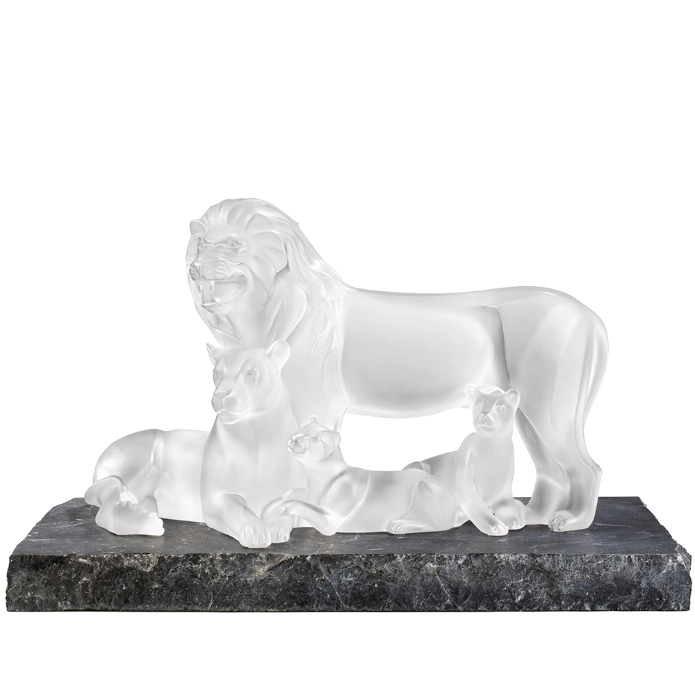 Lions sculpture | Limited edition (12 pieces), clear crystal | Lalique sculpture