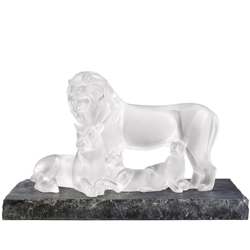 Lions sculpture | Limited edition (12 pieces), clear crystal | Lalique sculpture