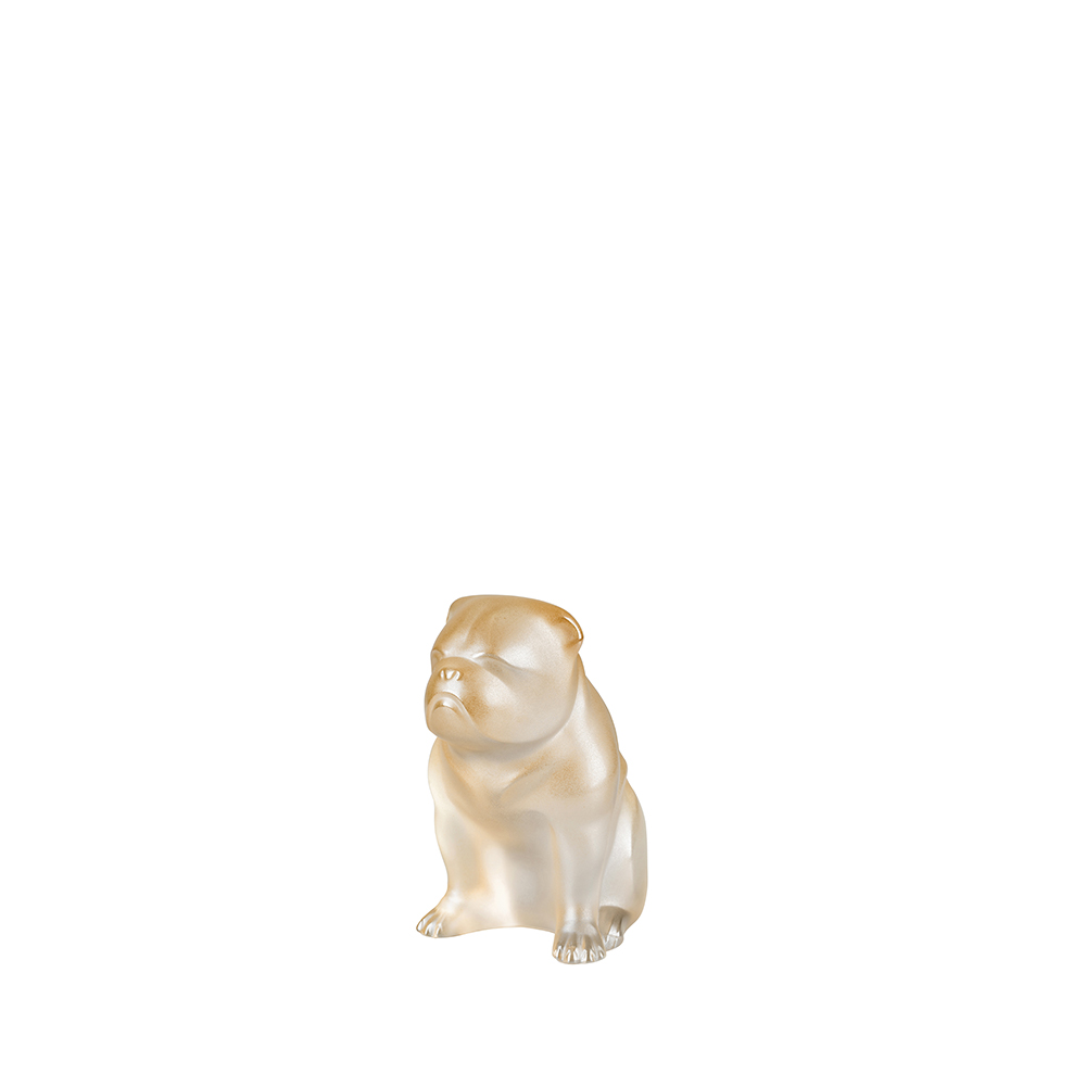 Bulldog dog sculpture | Gold luster cristal | Sculpture Lalique