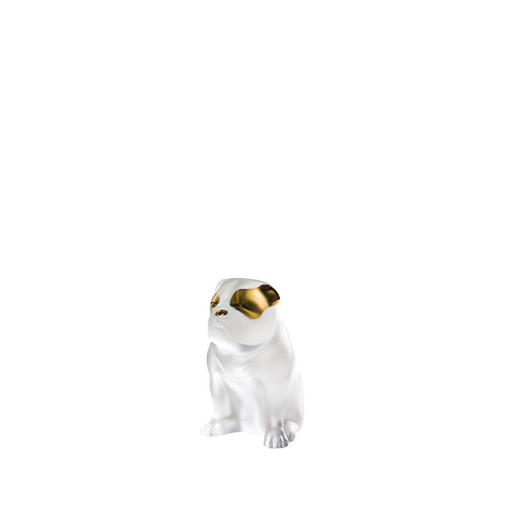 Bulldog dog sculpture | Clear and gold stamped cristal | Sculpture Lalique