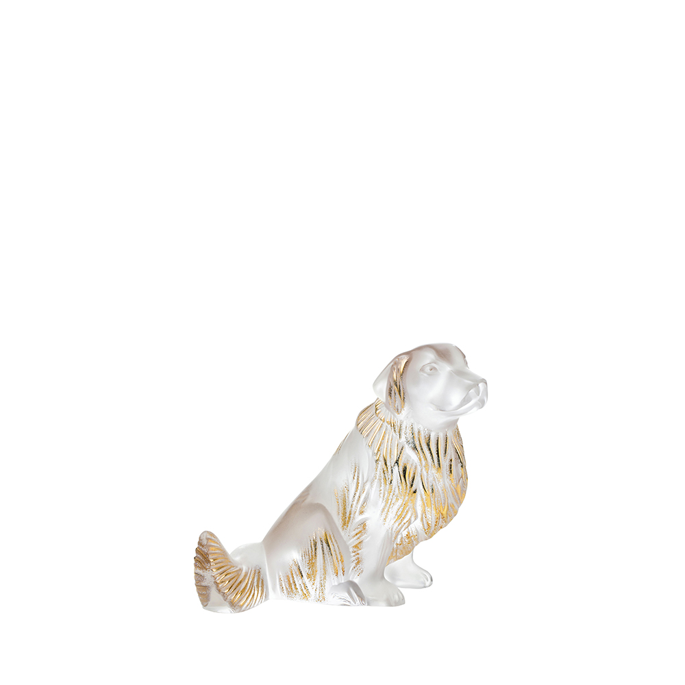 Golden Retriever dog sculpture | Clear and gold stamped crystal | Sculpture Lalique
