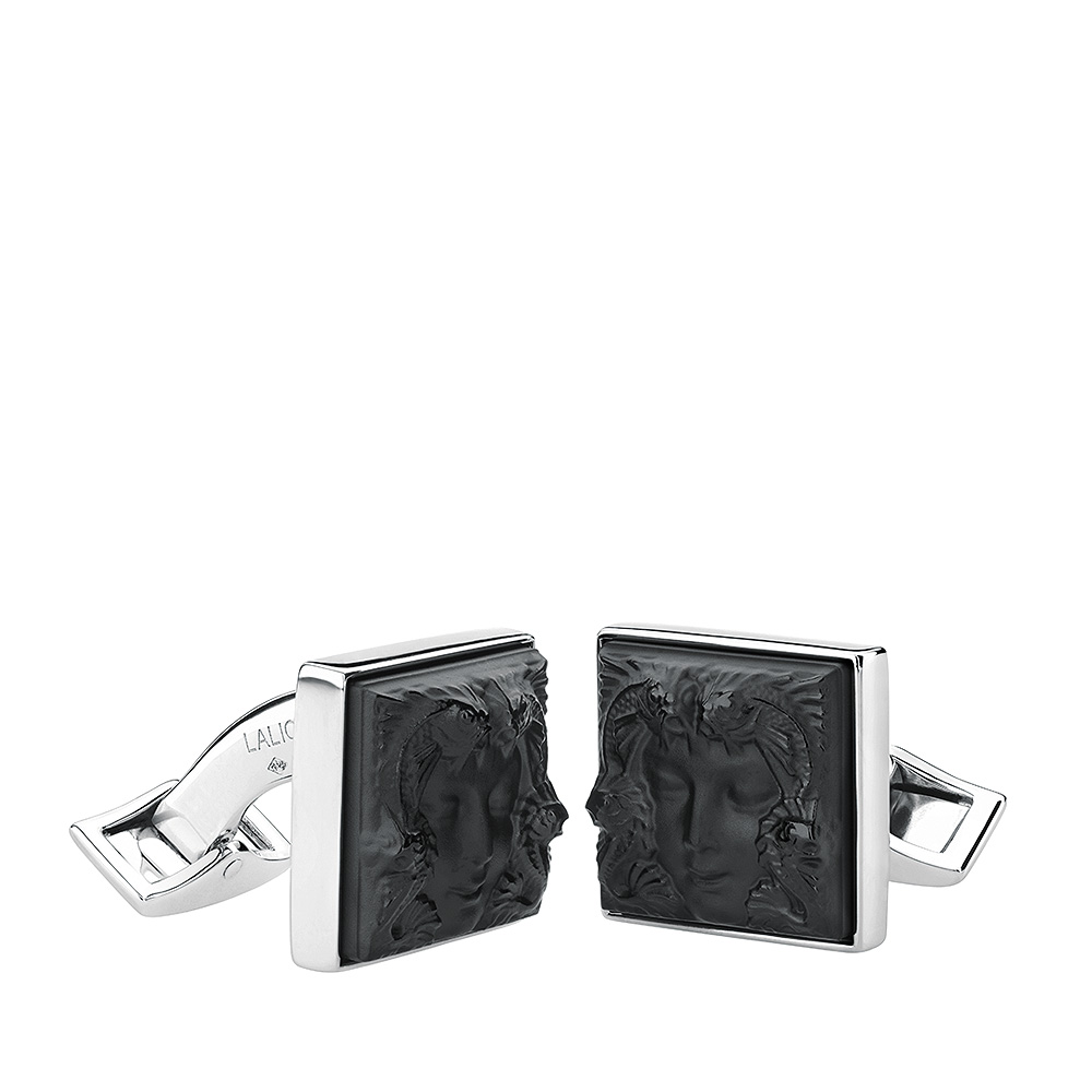 Aréthuse cufflinks | Black crystal, palladium finishing | Costume jewellery Lalique
