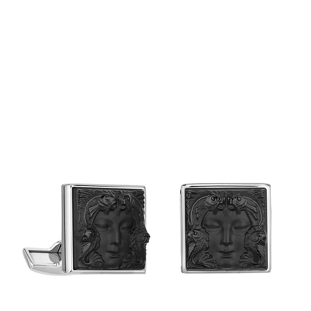 Aréthuse cufflinks | Black crystal, palladium finishing | Costume jewellery Lalique