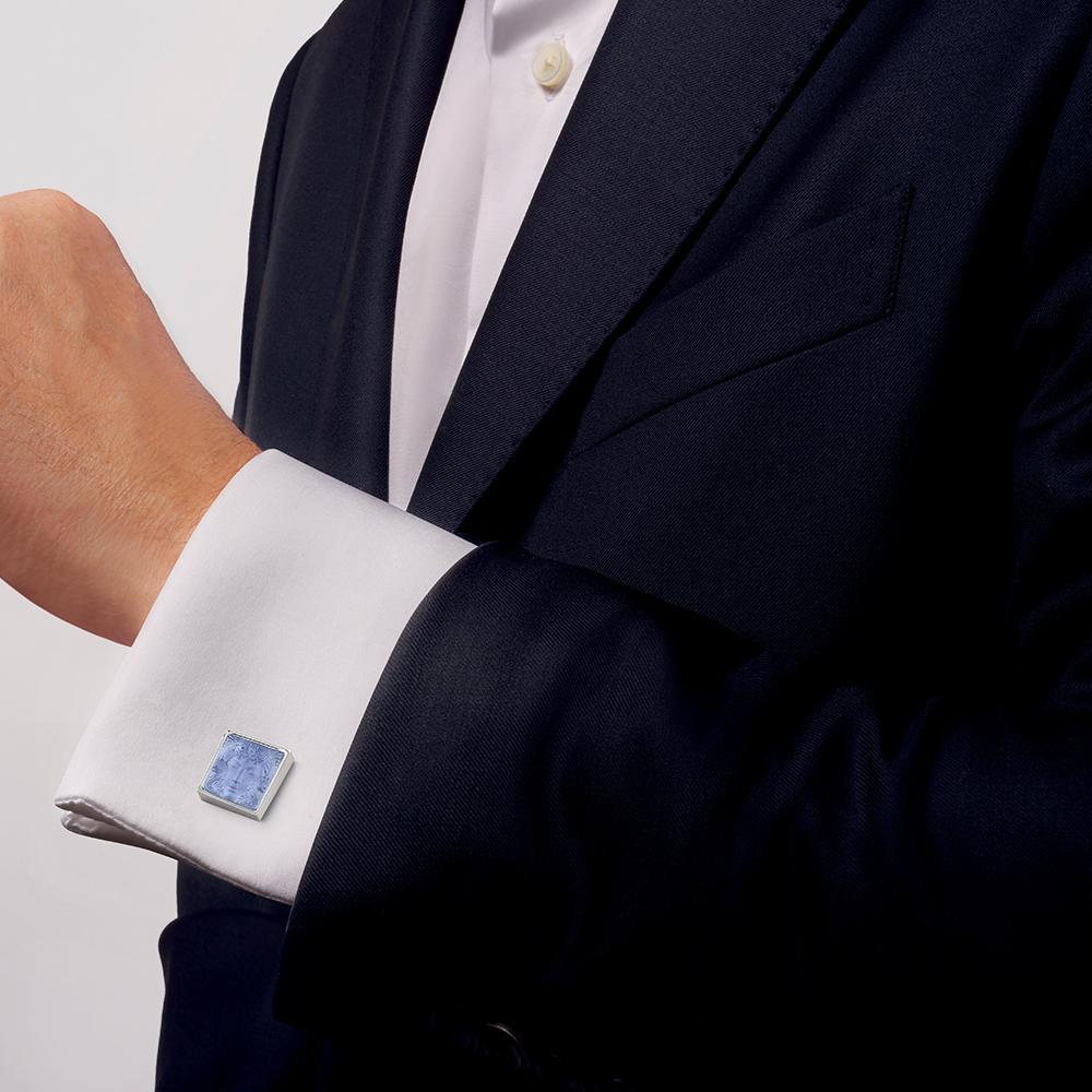 Aréthuse cufflinks | Sapphire blue crystal, palladium finishing | Costume jewellery Lalique