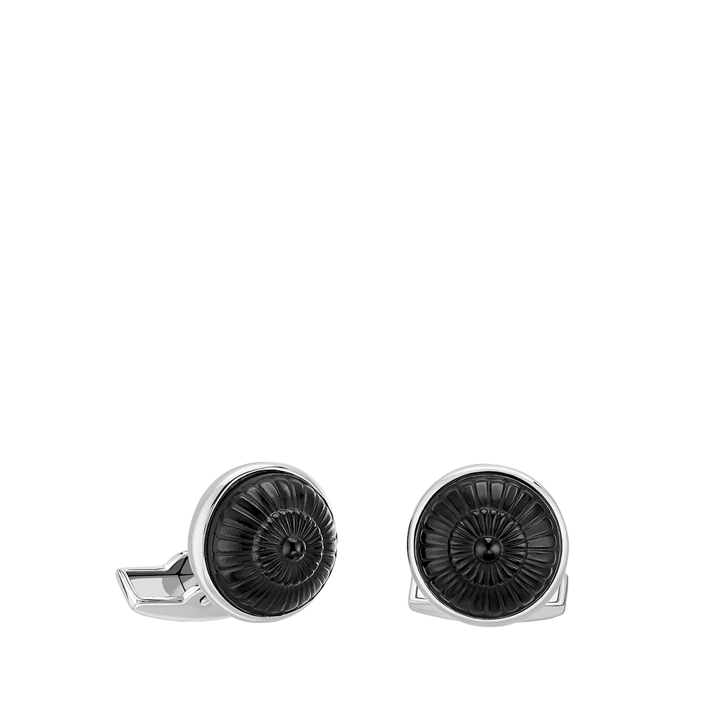 Toupie cufflinks | Black crystal, palladium finishing | Costume jewellery Lalique Subtitle