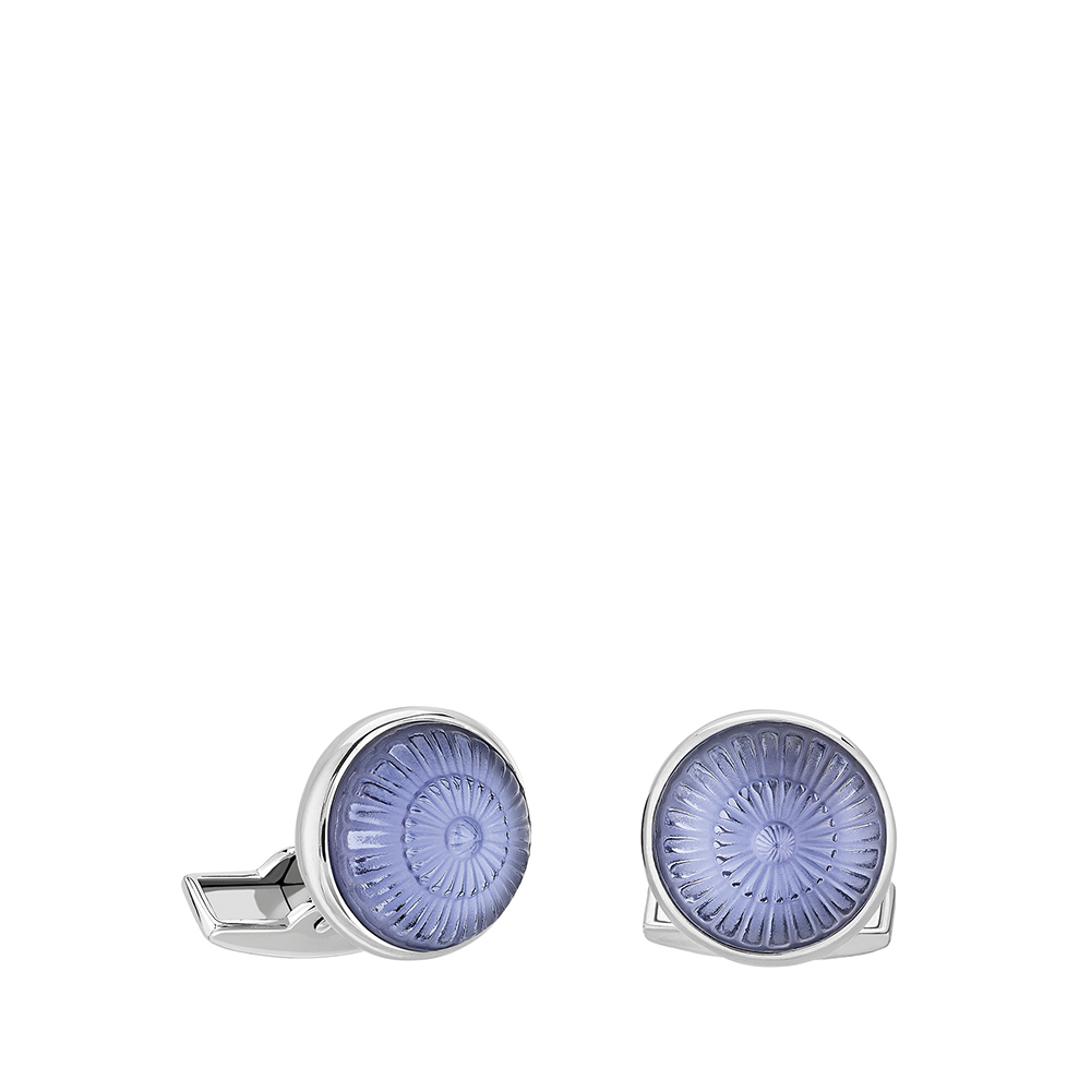 Toupie cufflinks | Sapphire blue crystal, palladium finishing | Costume jewellery Lalique