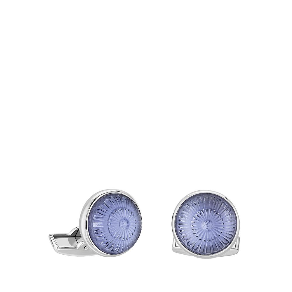 Boutons de manchettes Toupie | Cristal bleu saphir, finition palladium | Bijou fantaisie Lalique
