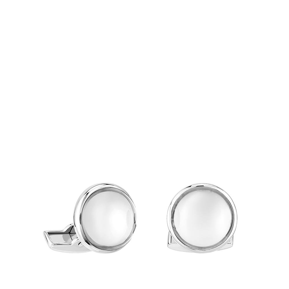 Cabochon cufflinks | Clear crystal, palladium finishing | Costume jewellery Lalique