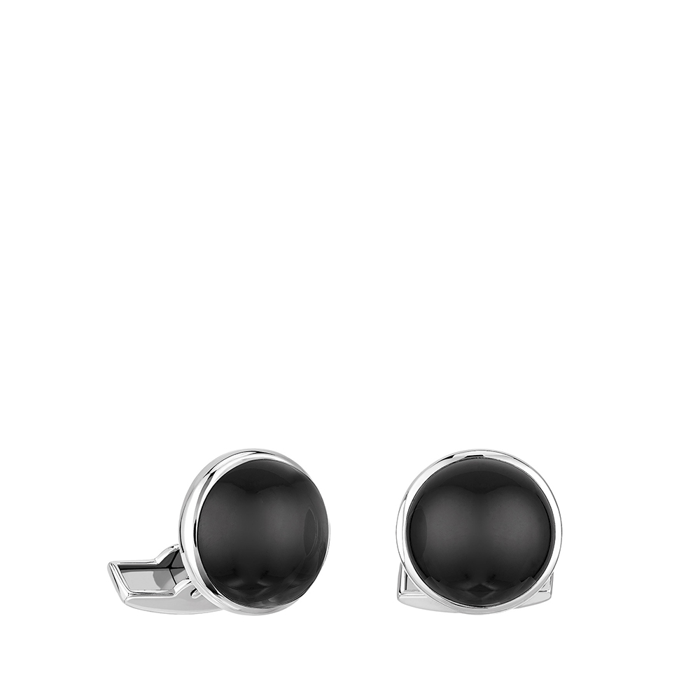 Cabochon cufflinks | Black crystal, palladium finishing | Costume jewellery Lalique
