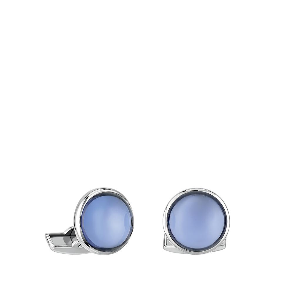 Cabochon cufflinks | Blue crystal, palladium finishing | Costume jewellery Lalique