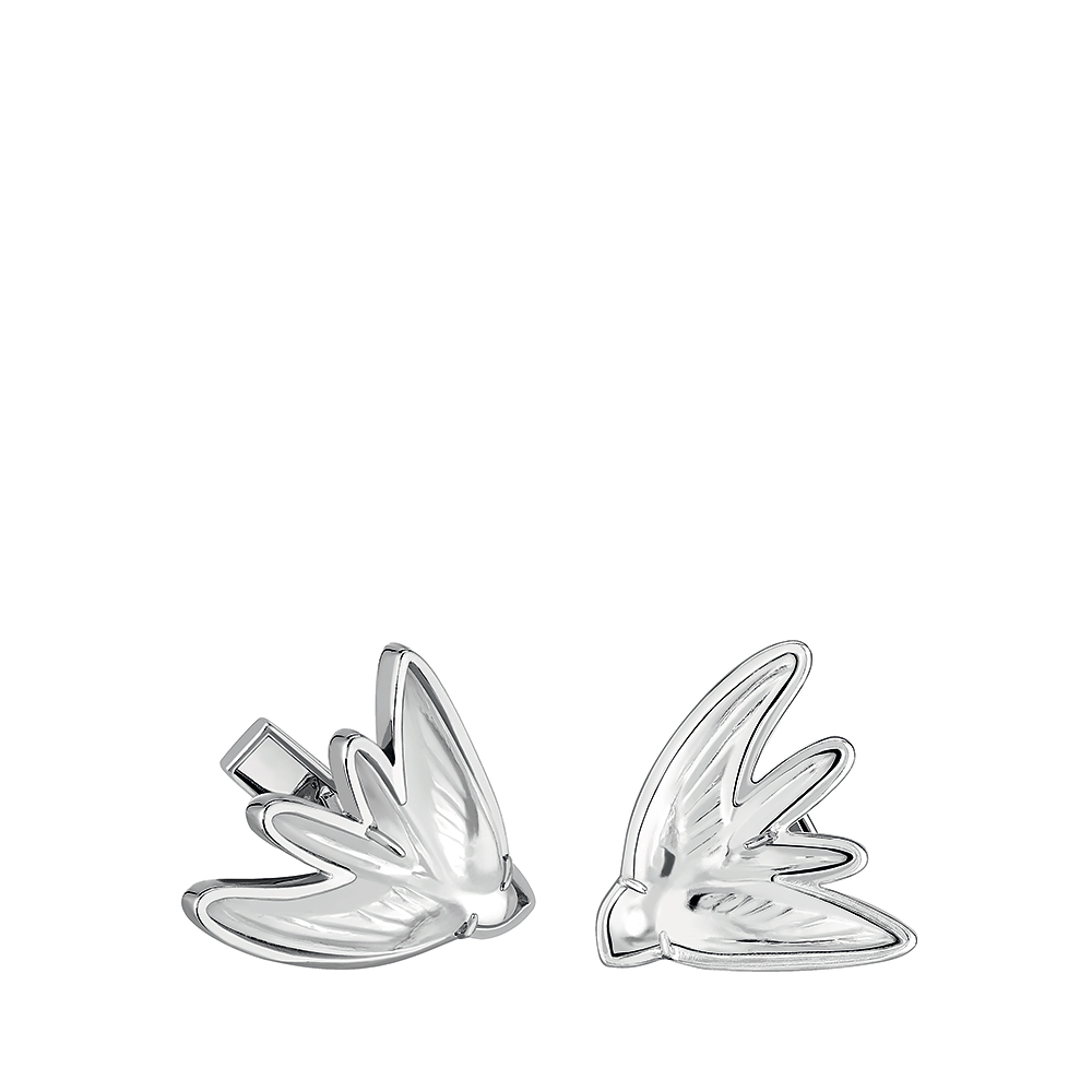 Hirondelle cufflinks | Clear crystal, palladium finishing | Costume jewellery Lalique