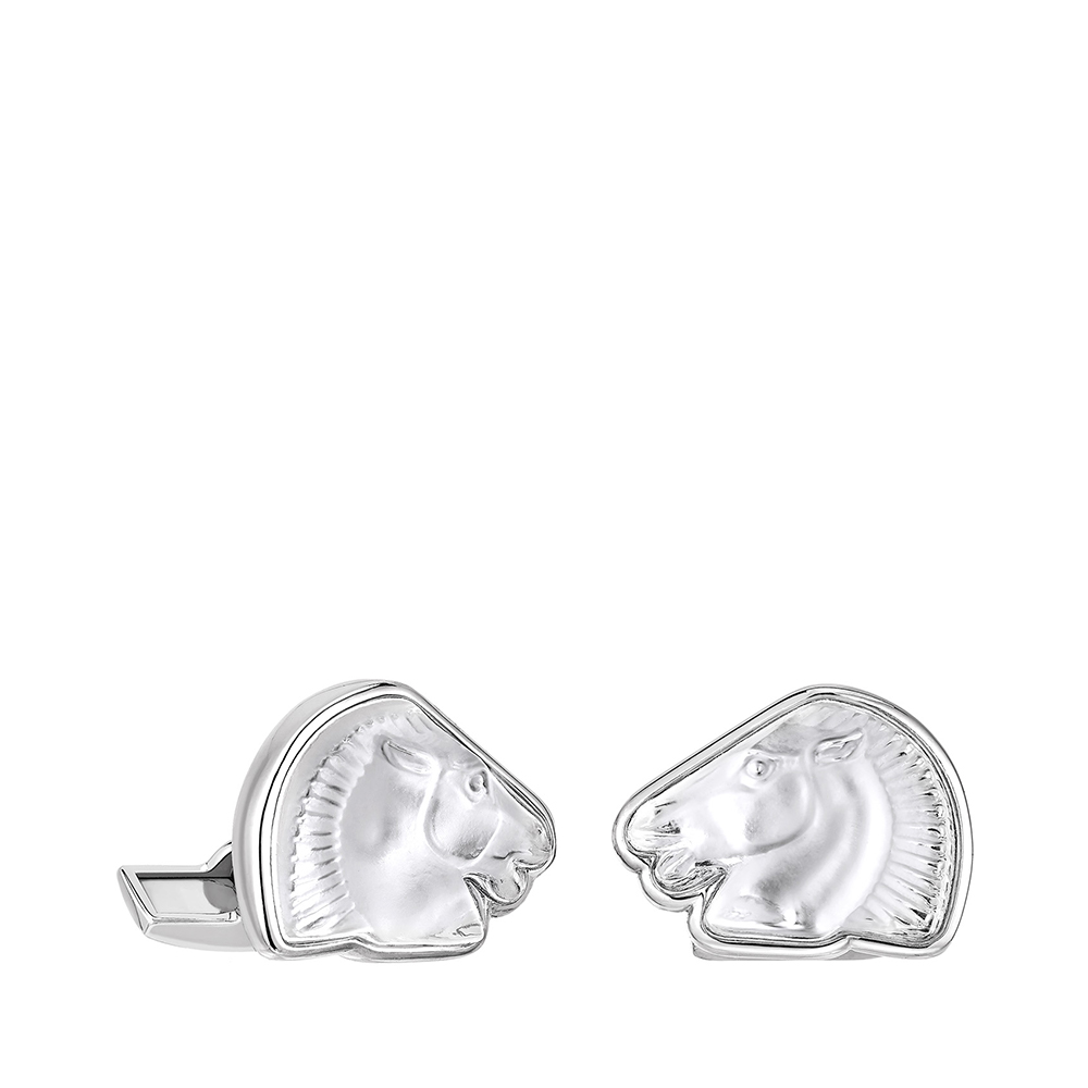 Cheval mascottes cufflinks | Clear crystal, palladium finishing | Costume jewellery Lalique