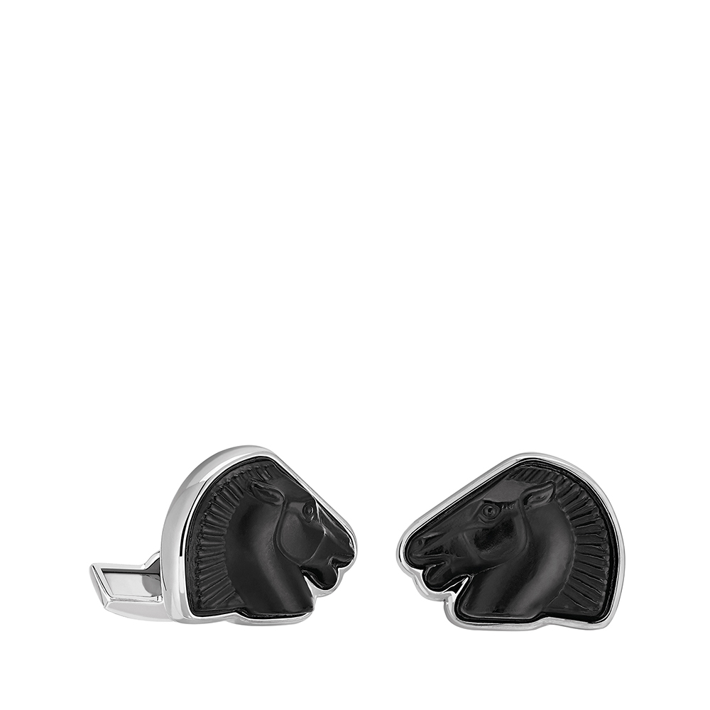Cheval mascottes cufflinks | Black crystal, palladium finishing | Costume jewellery Lalique