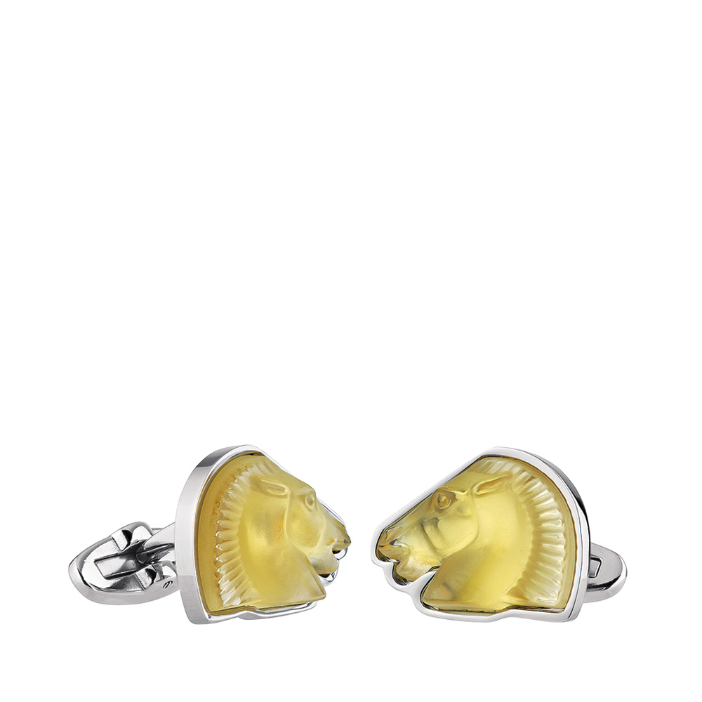 Cheval mascottes cufflinks | Amber crystal, palladium finishing | Costume jewellery Lalique