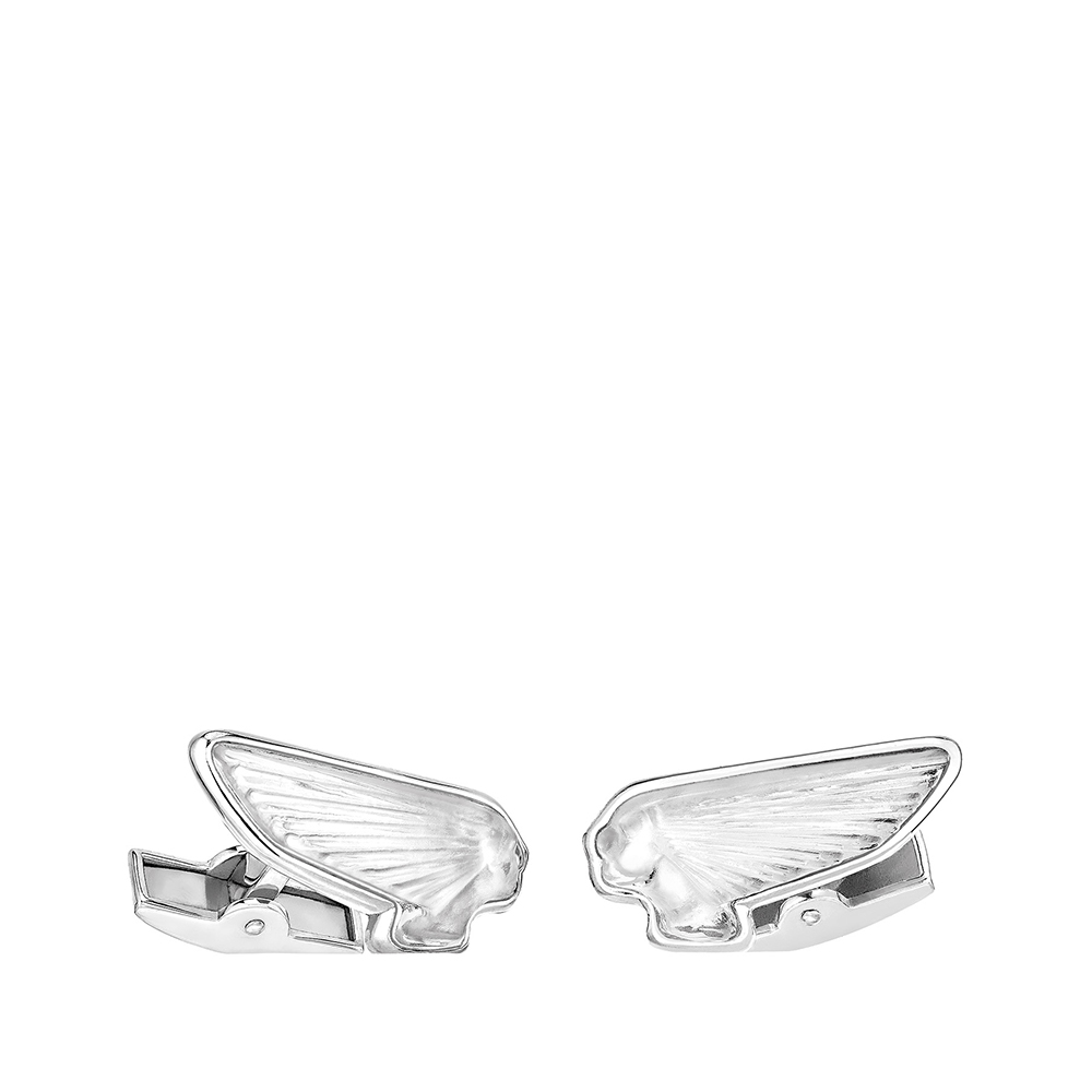 Victoire mascottes cufflinks | Clear crystal, palladium finishing | Costume jewellery Lalique