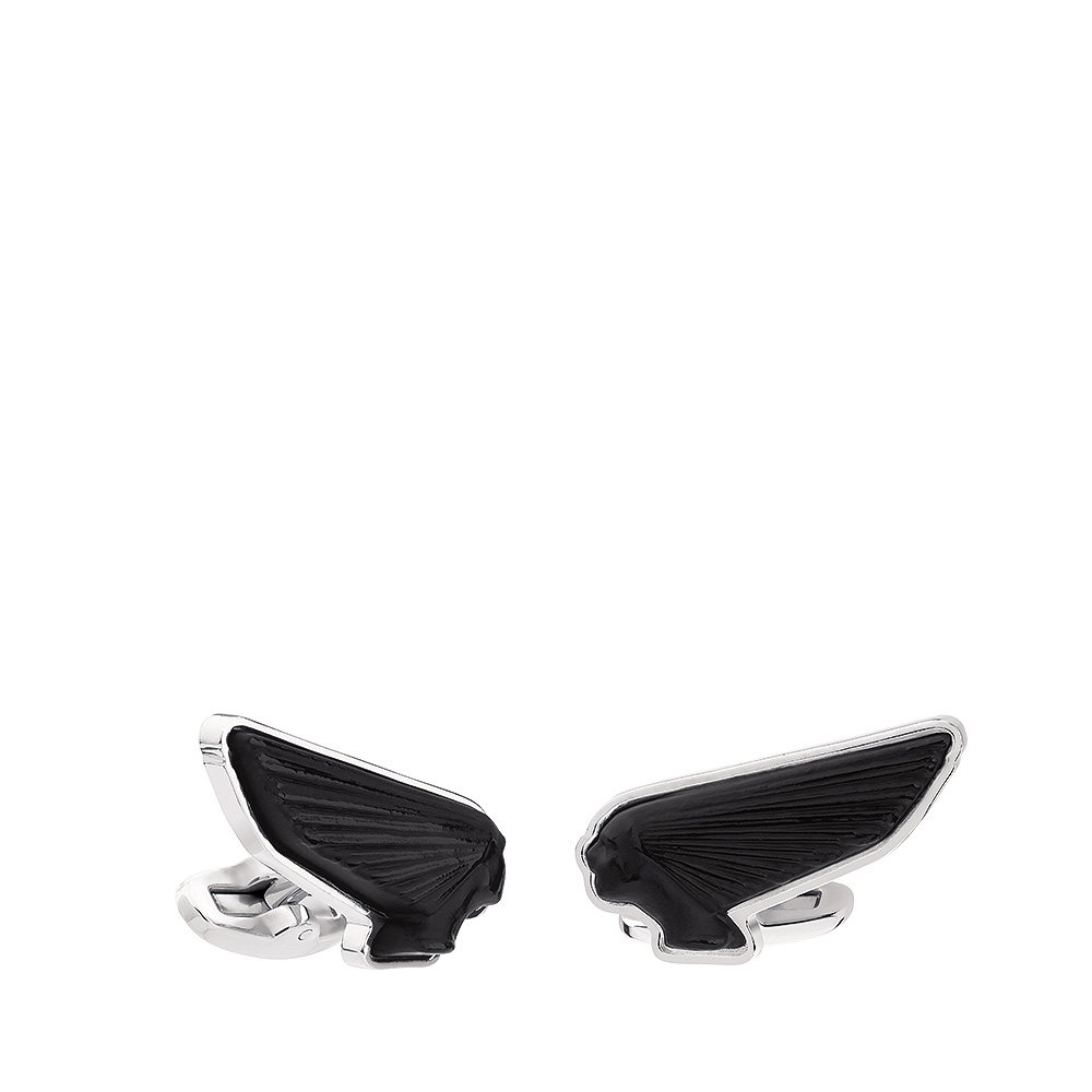 Victoire mascottes cufflinks | Black crystal, palladium finishing | Costume jewellery Lalique