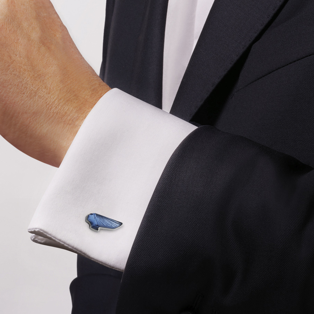 Victoire mascottes cufflinks | Sapphire blue crystal, palladium finishing | Costume jewellery Lalique