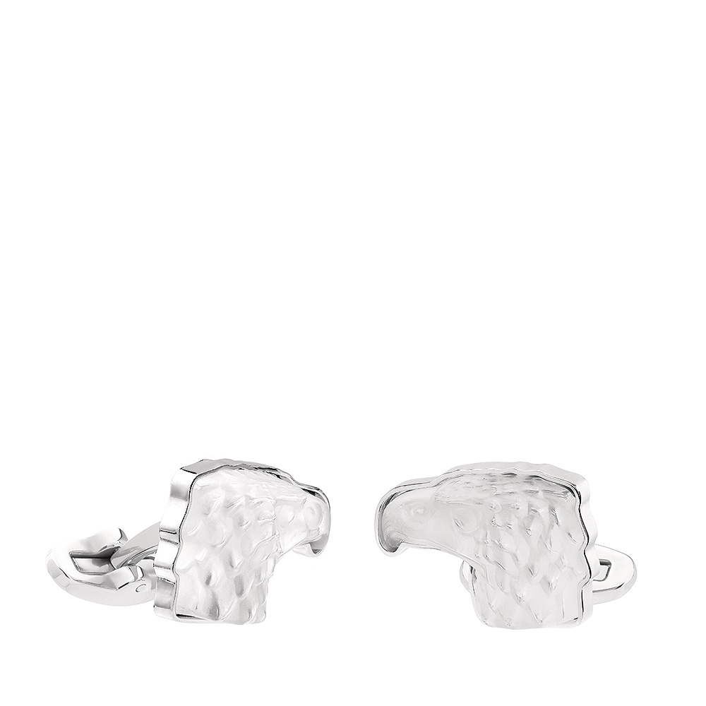 Eagle mascottes cufflinks | Clear crystal, palladium finishing | Costume jewellery Lalique