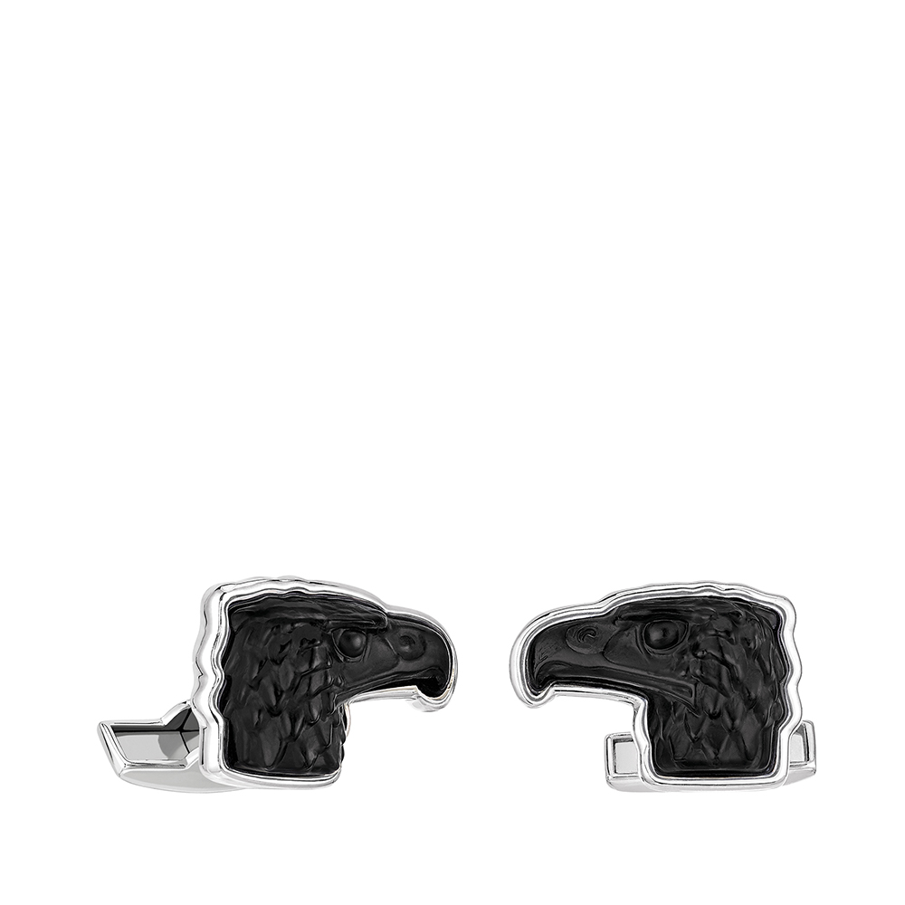 Eagle mascottes cufflinks | Black crystal, palladium finishing | Costume jewellery Lalique