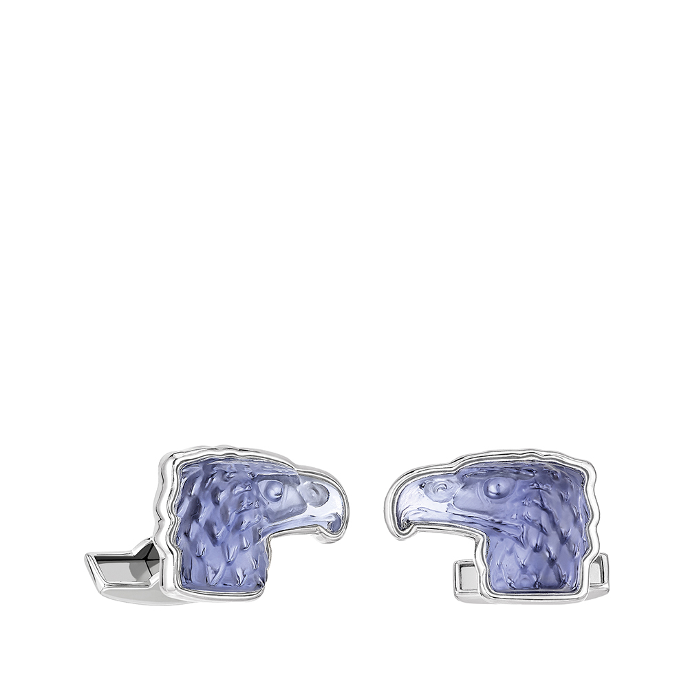 Eagle mascottes cufflinks | Sapphire blue crystal, palladium finishing | Costume jewellery Lalique