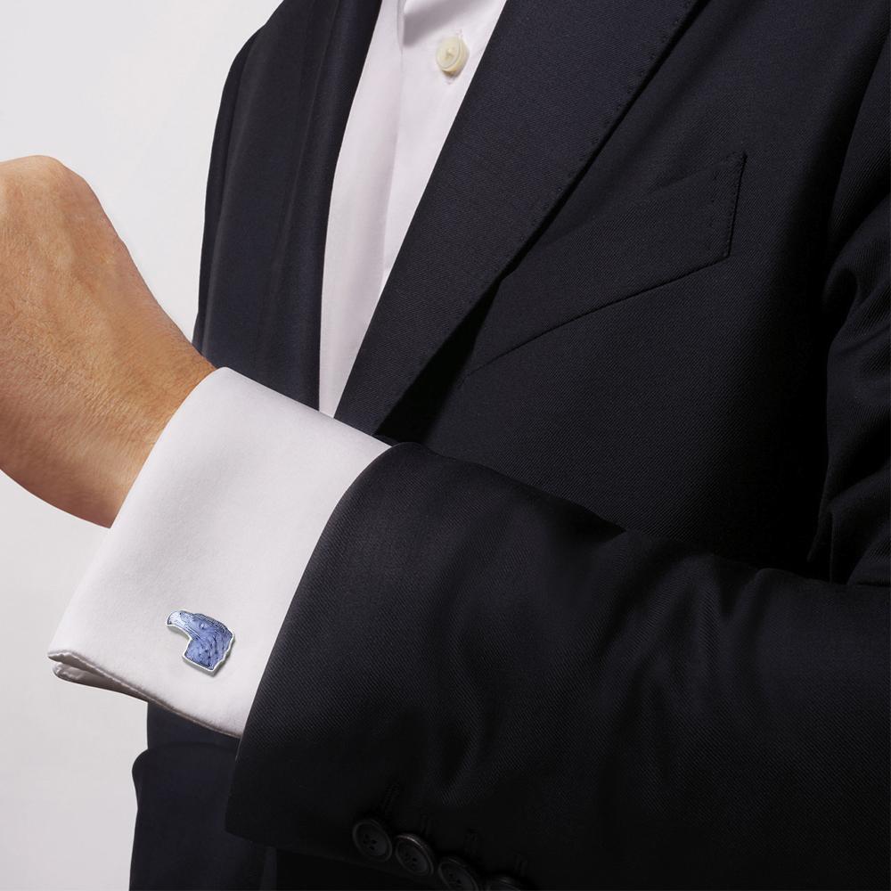 Eagle mascottes cufflinks | Sapphire blue crystal, palladium finishing | Costume jewellery Lalique