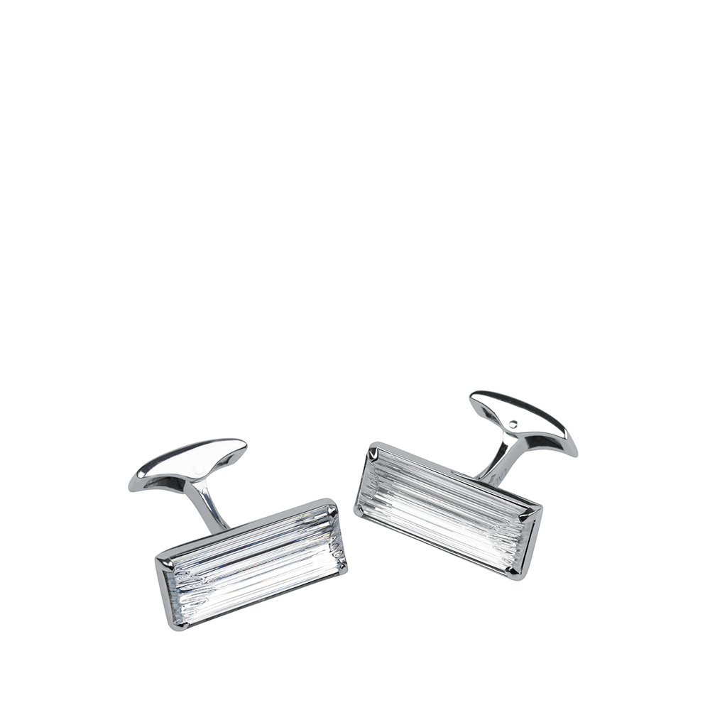 Rayonnante cufflinks | Clear crystal, palladium finishing | Costume jewellery Lalique