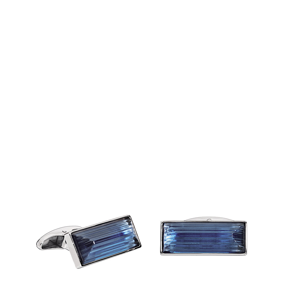 Rayonnante cufflinks | Sapphire blue crystal, palladium finishing | Costume jewellery Lalique